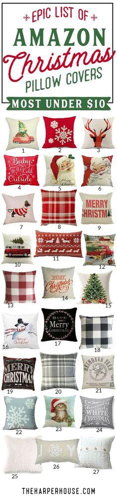 cheap Christmas pillows  farmhouse Christmas decor  cute Christmas pillows  red holiday pillows  neutral holiday decor
