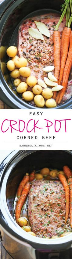 Slow Cooker Corned Beef - Let the crockpot do all the work for you - simply throw everything in and you are set. It's so easy, so tender and so flavorful!