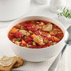 Soupe au poulet, riz et tomates - Les recettes de Caty Thai Red Curry, Dire Non, Ethnic Recipes, Food, Tomatoes, Cooking Food, Pasta With Chicken, World Cuisine, Essen