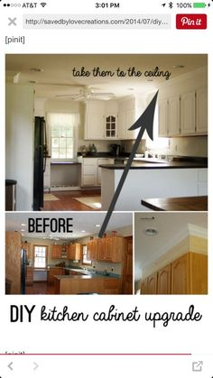 DIY Kitchen Cabinet Upgrade With Paint and Crown Molding | Saved By Love Creations