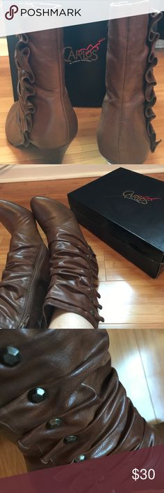CARLOS SANTANA BROWN LEATHER BOOTS CASTILLO COOPERTONE. brown leather, fair condition, both zippers work! Carlos Santana Shoes Ankle Boots & Booties