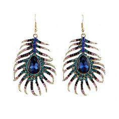 New Design Blue Rhinestone Peacock Feather Design Alloy Dangle Earrings for Women Peacock Earrings, Feather Earrings, Gemstone Earrings, Women's Earrings, Cheap Earrings, Feather Pattern, Feather Design, Peacock Design, Women Jewelry