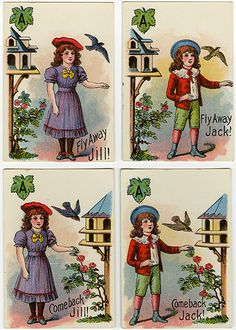 Assorted cards from Fly Away Jack and Jill. New York: McLoughlin Brothers, 1895.