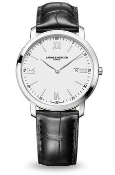 Discover the Classima 8849 steel and leather watch for men with quartz movement, designed by Baume et Mercier, Swiss Watch Maker.