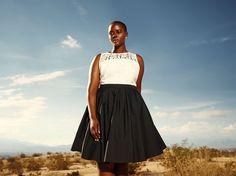 Black & white lace crinoline dress from Addition Elle summer 2015 plus size fashion