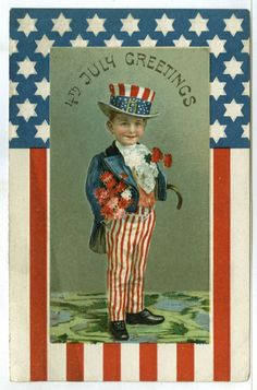 "1 of 4 Embossed, Cute Little Boy as Uncle Sam, ""4th July Greetings"", Flag Hat... #FourthofJuly"