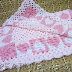 Image result for crochet baby girl blankets