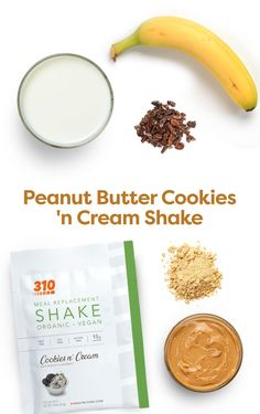 This Peanut Butter Cookies n' Cream Shake utilizes 310 Organic Cookies 'n Cream, 310 Peanut Butter Powder, and other whole ingredients that make the perfect healthy sweet treat. Yummy Drinks, Healthy Drinks, Healthy Recipes, Drink Recipes, Protein Powder Recipes, Protein Shake Recipes, Organic Cookies, Vegan Peanut Butter Cookies, Healthy Sweet Treats