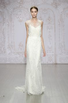 Monique Lhuillier - Silk white embroidered tulle draped blouson sheath
