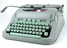 Mint green Hermes 3000. I've been told that this model was used quite a bit at the New Yorker offices.