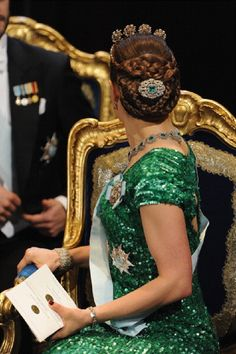 Princess Victoria of Sweden hair details as she looks behind her during the 2012 Nobel Prize Award Ceremony