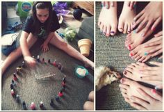 Fun Sleepover [slumber party] game.  Spin the bottle on the nail polish