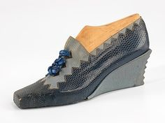 Steven Arpad    Date:1939 designer shoes wedge heels blue grey late 30s early 40s War Era vintage fashion style casual day wear