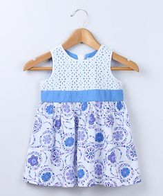 Another great find on #zulily! Blue Embroidered Dress - Toddler by Beebay #zulilyfinds
