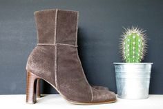 1990's BROWN Suede Patchwork Ankle Boots High by reapervintage