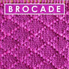 Diamond Brocade Knit Stitch Pattern for beginning knitters by Studio Knit #StudioKnit #KnittingStitches #knitstitchpattern #freepattern