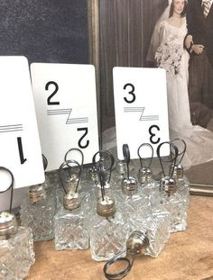 Wedding Table Number Holder Small Silver and Crystal Romantic Wedding Centerpiece Decor Wedding Table Number Holders, Wedding Table Numbers, Romantic Wedding Centerpieces, Place Cards, Place Card Holders, Crystals, Silver, Etsy, Decor