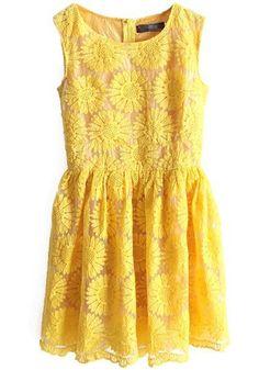 Yellow Sunflower Embroidery Zipper Sleeveless Lace Dress