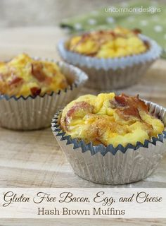 Gluten Free Bacon, Egg, and Cheese Hash Brown Mufin Recipe by Uncommon Designs