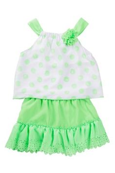 Neon Top & Skirt 2-Piece Set (Little Girls)