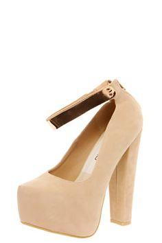 Allie Plaque Detail Ankle Strap Platform Heels