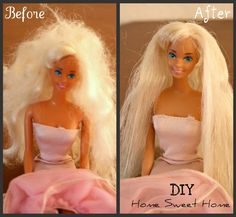How to fix nasty doll hair. Fill a medium cup w/hot water & add 1 teaspoon fabric softner, put all of barbie's hair in solution for min, then comb gently out. This works great, makes barbie hair soft, tangle free & shiny. Barbie Hair Fix, Doll Hair, Barbie Clothes, Barbie Dolls, Barbie Stuff, Activities For Kids, Crafts For Kids, Diy Crafts, Preschool Ideas
