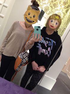 Me and my BFF's at the mall haha I bought emoji masks
