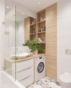Salle de bain blanche carreaux de ciment, bois clair