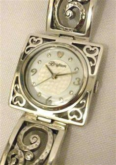 Brighton IRVINE Square Scroll Watch Mantilla Silverplat Black Leather W30373 NWT #Brighton #Fashion