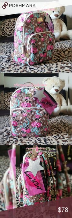 """🔥Sale! BETSEY JOHNSON Backpack FLORAL Rose Gold BRAND NEW WITH TAGS! This super cute backpack from Betsey Johnson is a BACK TO SCHOOL IN STYLE piece 🎉😘👜🌸 Quilted fabric with ROSE GOLD Faux Leather 💕 Medium brown hue with pink and teal color combination. Comes with a detachable glitter star charm/purse fob. Also comes with a clear zippered utility pouch. LUV Betsey collection. Stars print liner. Size LARGE. Measures 12""""Lx16""""Hx5.5""""D 💕💋 Betsey Johnson Bags Backpacks"""
