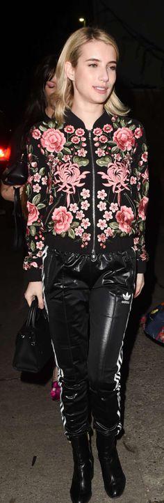 Emma Roberts: Jacket – Needle & Thread  Pants – Adidas  Purse – Dior  Shoes – Dear Frances