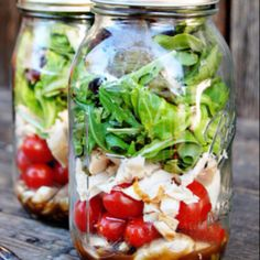 For lunch on the go! Salad in a mason jar. Remember to put dressing at the bottom so your lettuce doesn't get soggy!