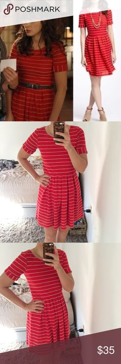 Anthropologie scalloped striped red dress Adorable little dress seen on my shows and celebrities. EUC slight slight pilling under the arms. This is a M but it fits smaller. For reference I am usually a 2/4 in dresses from there. So listing as a small. No trades. Anthropologie Dresses