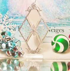 Mirror and Iridescent Glass Ornament by MoreThanColors on Etsy, $17.50