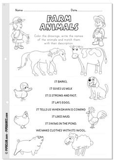 Farm animals - #coloring, #reading and #writing activity by @evapipo #preschool #firstgrade  #animals #farm #Pipo