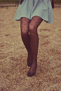 Heart print stockings. They're super cute with high waisted skater skirts or high waisted shorts.  XO -Elisha