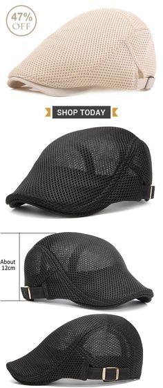 cfd98d4e06415 Men Summer Mesh Beret Cap Breathable Visor Flat Hat Adjustable Solid Color  Newboy Hat is hot sale on Newchic.