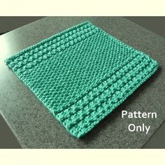 Knitted Squares Pattern, Knitting Squares, Dishcloth Knitting Patterns, Knit Dishcloth, Easy Stitch, Purl Stitch, Slip Stitch, Weaving, Make It Yourself