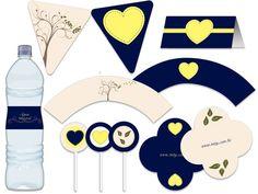 Festa Árvore e Coração - aniverários - chá de bebê - casamento - bodas azul, amarelo, bege, creme marinho Tuty - Arte & Mimos www.tuty.com.br