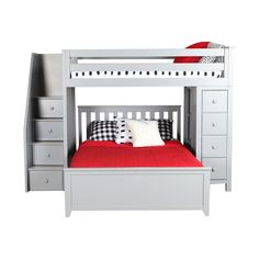 Harriet Bee Ayres L-Shaped Bunk Beds with Drawers and Bookcase Size: Twin/Full, Bed Frame Colour: Grey Bunk Beds With Drawers, Bunk Bed With Desk, Bunk Beds With Storage, Bunk Beds With Stairs, Bed Storage, Bunk Beds Boys, Full Bunk Beds, Kid Beds, Loft Beds