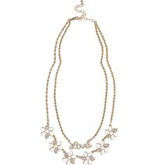 Gold tone love flower double row necklace