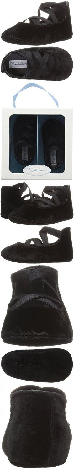 Ralph Lauren Layette Girls' Priscilla Ballet Flat, Black Velvet, 2 M US Infant