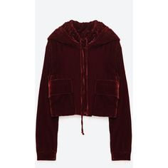HOODED VELVET TOP - NEW IN-TRF | ZARA United States ($50) ❤ liked on Polyvore featuring tops, velvet top, brown tops and hooded top