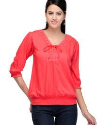 Buy Red plain tops top online