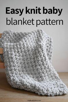 Easy Knit Baby Blanket, Chunky Blanket, Knitted Baby Blankets, Knitted Blankets, Easy Knitting Patterns, Knitting Projects, Crochet Patterns, Knitting Tutorials, Blanket Patterns