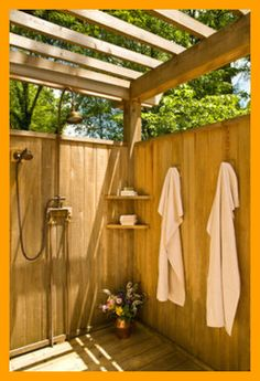 Shower In The City mediterranean-patio ? It is a nice seating area. Unless you have a working Farm or Ranch, I do not see the point for having a shower out doors. This space could be used far more productively. Outdoor Shower Enclosure, Outdoor Bathtub, Outdoor Bathrooms, Rustic Bathrooms, Outdoor Kitchens, Outdoor Areas, Outdoor Rooms, Outdoor Living, Outdoor Structures