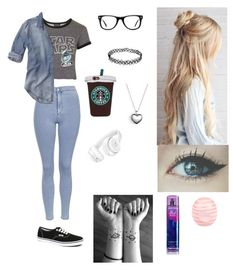"""""""Double denim babe"""" by topilots ❤ liked on Polyvore featuring Topshop, Hollister Co., Muse, Vans, River Island, Pandora and Beats by Dr. Dre"""