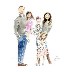 Family Watercolor Portrait Work Inspiration, Painting Inspiration, Watercolor Illustration, Watercolor Art, Girly M, Bff Drawings, Family Painting, Watercolor Portraits, Mandala Art