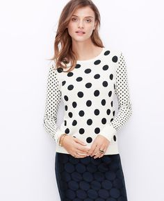 On the dot: our luxe cashmere-infused sweater is popped with delightful dots.