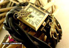 WOLFS CREEK Echt Leder Flechtband retro Wickeluhr von Schloss Klunkerstein - Uhren, von Hand gefertigter Unikat - Schmuck aus Naturmaterialien, Medaillons, Steampunk -, Shabby - & Vintage - Schätze, sowie viele einzigartige und liebevolle Geschenke ... auf DaWanda.com